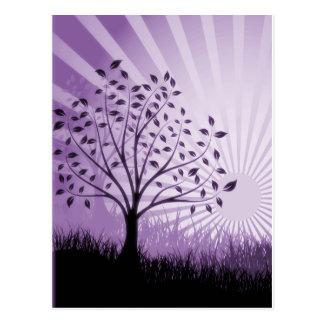 Tree Leaves Grass Silhouette & Sunburst - Purple Postcard