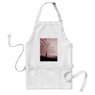 Tree Leaves Grass Silhouette & Sunburst - Red Aprons