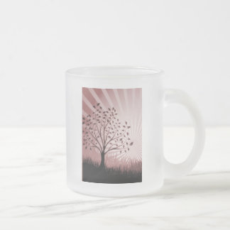 Tree Leaves Grass Silhouette & Sunburst - Red Frosted Glass Coffee Mug