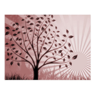 Tree Leaves Grass Silhouette & Sunburst - Red Postcard