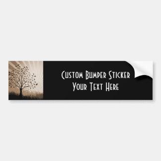 Tree Leaves Grass Silhouette & Sunburst - Sepia Bumper Sticker
