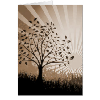 Tree Leaves Grass Silhouette & Sunburst - Sepia Card