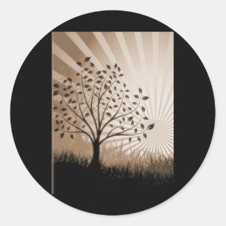Tree Leaves Grass Silhouette & Sunburst - Sepia Classic Round Sticker