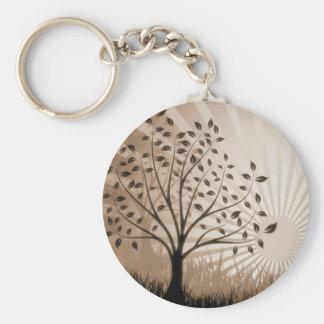 Tree Leaves Grass Silhouette & Sunburst - Sepia Keychain