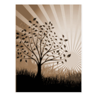 Tree Leaves Grass Silhouette & Sunburst - Sepia Postcard