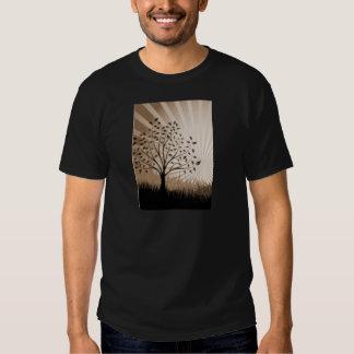 Tree Leaves Grass Silhouette & Sunburst - Sepia T Shirt
