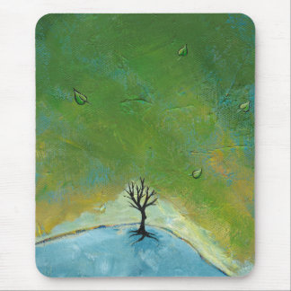 Tree leaves landscape painting we are connected mouse pad