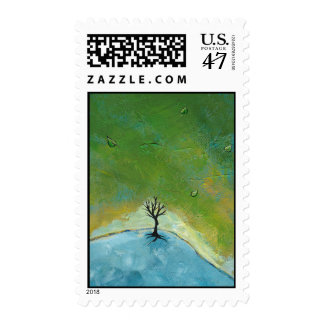 Tree leaves landscape painting we are connected postage