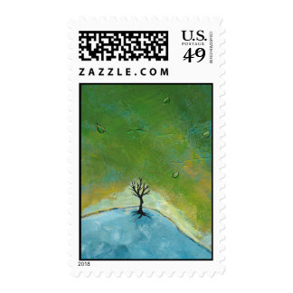 Tree leaves landscape painting we are connected stamps