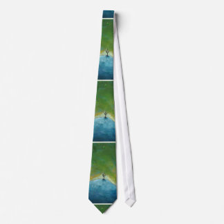 Tree leaves landscape painting we are connected necktie