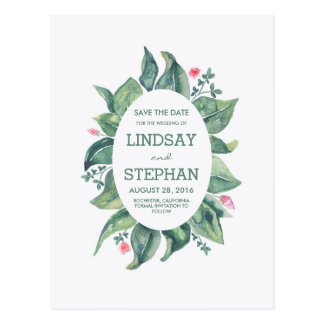 Tree Leaves Rustic Garden / Forest Save the Date Postcard