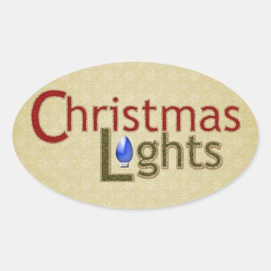 Tree Lights - Christmas Oval Sticker