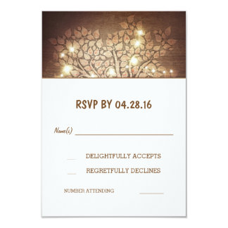 Tree Lights Rustic Wooden Wedding RSVP Cards