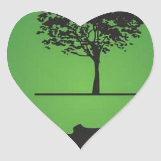 Tree line heart sticker