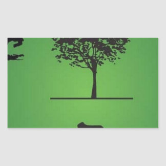 Tree line rectangular sticker