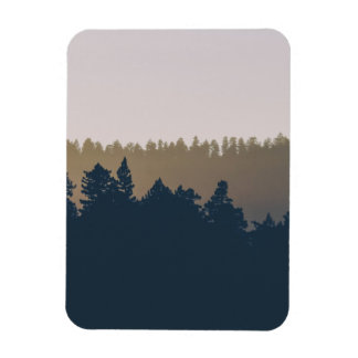 Tree line silhouette rectangular photo magnet