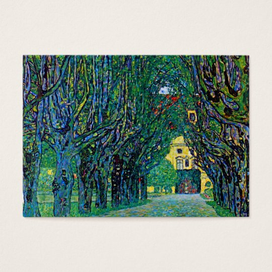 Tree lined avenue painting art by Gustav Klimt Business Card