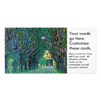 Tree lined avenue painting art by Gustav Klimt Custom Photo Card