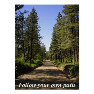 Tree lined dirt road poster