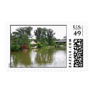 Tree Lined Pond Postage Stamp