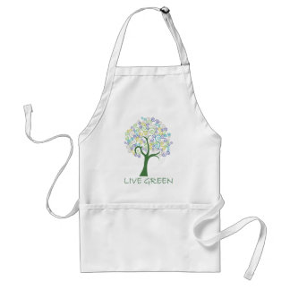 Tree ~ Live Green Colorful Scroll Trees Adult Apron