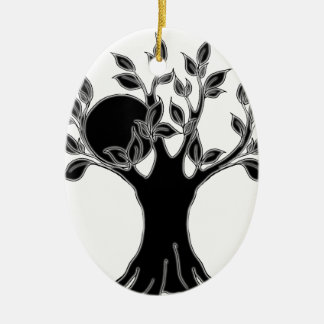 Tree logo- realm black2.png Double-Sided oval ceramic christmas ornament