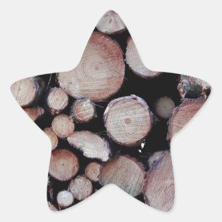 Tree logs star sticker