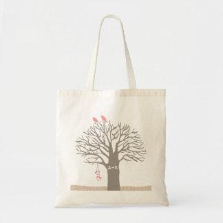 Tree Love Birds Love Initial Custom Tote Bag