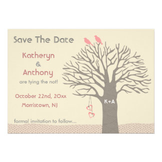 Tree Love Birds Save The Date Flat Card Pink Personalized Invitation