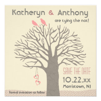 Tree Love Birds Save The Date Flat Card Square Custom Invitations