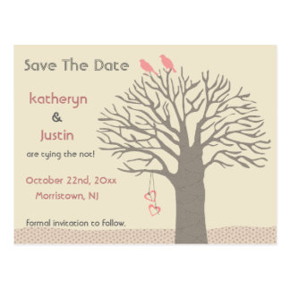 Tree Love Birds Save The Date Postcard