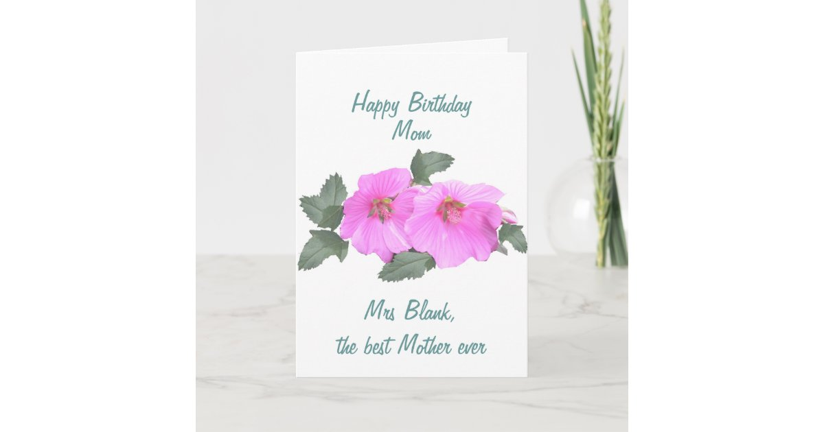 Super Tree Mallow Birthday Card Mom Customize Zazzle Com Personalised Birthday Cards Bromeletsinfo