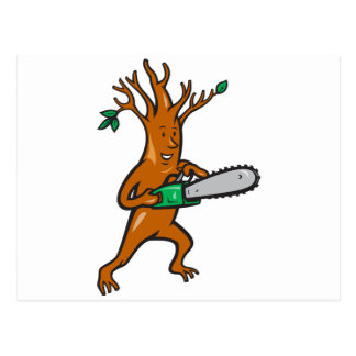 Tree Man Arborist With Chainsaw Post Cards