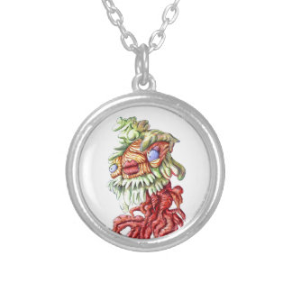 Tree Man Plant Leaves Roots Cartoon Round Pendant Necklace