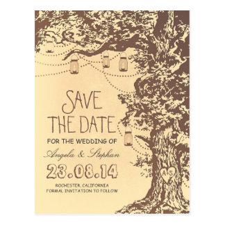tree mason jars rustic save the date postcards
