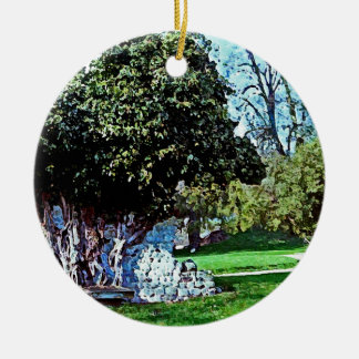 Tree Merged with Stone - Mortemer Abbey - France Christmas Ornament