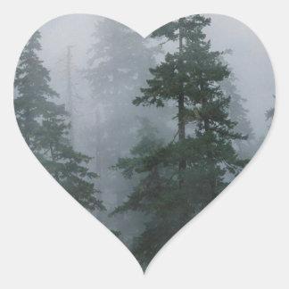 Tree Mist Storm Mount Hood Heart Sticker