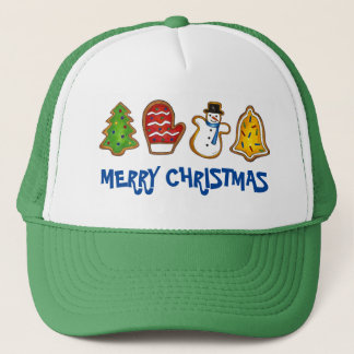 Tree Mitten Snowman Bell Merry Christmas Cookie Trucker Hat