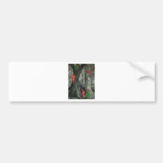 Tree monkey neon optical illusion bumper sticker