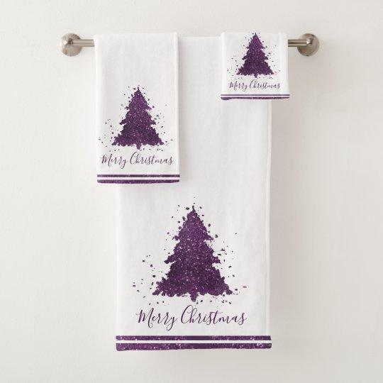 Tree Moody Decor Eggplant Purple Holiday Border Bath Towel Set
