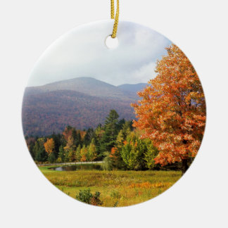 Tree Mount Mansfield Vermont Double-Sided Ceramic Round Christmas Ornament