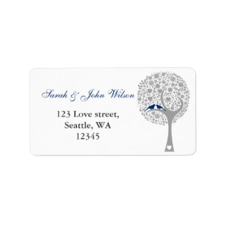 tree navy blue lovebirds return address label