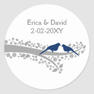 tree navy blue lovebirds wedding favor stickers