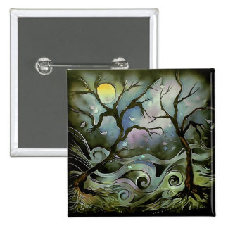 tree night scene full moon silk art painting pinback button