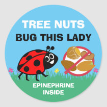 Tree Nut Allergy Alert Epinephrine Ladybug Classic Round Sticker