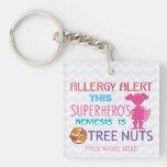 Tree Nut Allergy Alert Keychain Girl Superhero