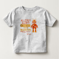 Tree Nut Allergy Alert Orange Robot Boys Toddler T-shirt