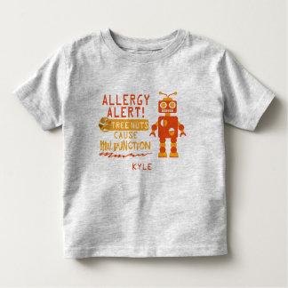 Tree Nut Allergy Alert Orange Robot Boys Toddler T-shirt
