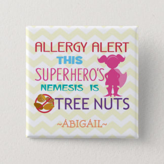 Tree Nut Allergy Alert Superhero Girl Button