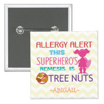 Tree Nut Allergy Alert Superhero Girl Button